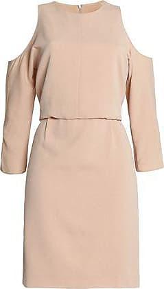 Tibi Woman Savanna Cold-shoulder Draped Crepe Mini Dress Beige Size 6 Tibi