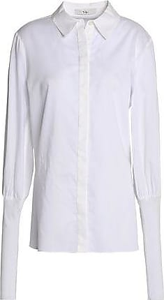 Tibi Woman Mabel Cotton-twill Shirt Sky Blue Size 8 Tibi