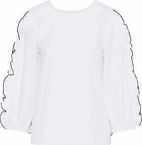 Tibi Woman Ruched Pleated Cotton-poplin Top White Size 12 Tibi