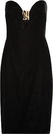 Tom Ford Woman Strapless Leopard-print Calf Hair-trimmed Velvet Dress Black Size 40 Tom Ford