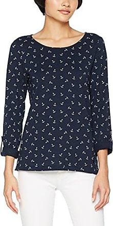 Tom Tailor Casual AOP Shirt with Turn-Ups, Camisa Manga Larga para Mujer, Azul (Real Navy Blue 6593), X-Large