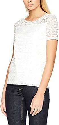 Tom Tailor Mixed Blouse Top, Camiseta para Mujer, Blanco (Whisper White 8210), Small