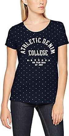 Tom Tailor Denim Fabric Mix tee, Camiseta para Mujer, Azul (Real Navy Blue 10360), Large