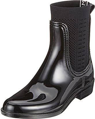 Tommy Hilfiger Tommy Knit Shiny Rain Boot, Bottes et Bottines de Pluie Femme, Argenté (Silver 000), 42 EU