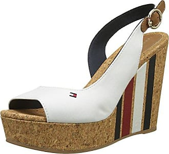 Wedge with Printed Stripes, Espadrillas Donna, Bianco (Whisper White 121), 41 EU Tommy Hilfiger