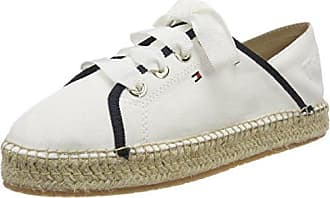 TH Metallic Lace Up Espadrille, Alpargata para Mujer, Blanco (Whisper White 121), 39 EU Tommy Hilfiger