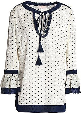 Tory Burch Woman Ruffle-trimmed Polka-dot Silk-blend Jacquard Tunic Ivory Size 6 Tory Burch