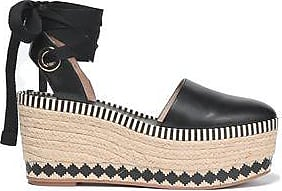 Tory Burch Woman Lace-up Leather Platform Espadrilles Chocolate Size 8 Tory Burch