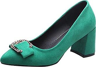 UH Damen Chunky Heels Pumps mit Strass Spitze Pumps Blockabsatz Work Office Schuhe