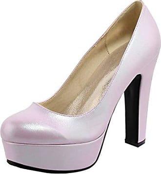 Easemax Damen Süß Schleife Runde Zehe Plateau High Heels Pumps Schuhe Violett 37 EU