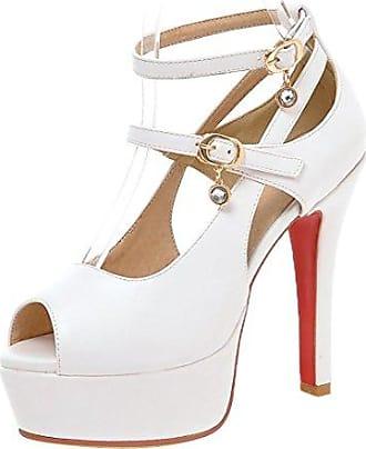 RAZAMAZA Damen Party High Heel Sandalen Plateau Sommerschuhe Peep Toe Black Size 35 Asian
