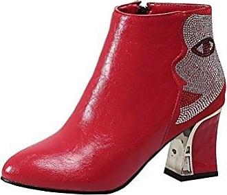 Aisun Damen Kunstleder Spitz Zehe Schnürsenkel Blockabsatz Reißverschluss Kurzschaft Chelsea Stiefel Rot 33 EU