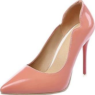 SHOWHOW Damen Lack Kunstleder Spitz Stiletto Pumps Pink 34 EU