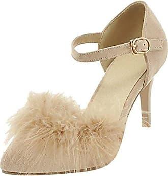 UH Damen Spitze High Heels Riemchen Pumps mit Stiletto und Schnalle Mode Elegante Schuhe