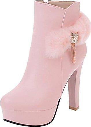 SHOWHOW Damen Schleife Strass Schuh Kurzschaft Stiefel mit Absatz Pink 40 EU