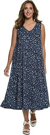 Große Größen Ulla Popken Damen Kleid, Blütenmuster, Nackenschlitz, Blau, Gr. 42/44,46/48,54/56,50/52,58/60,62/64 Ulla Popken