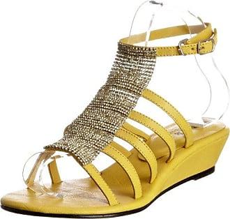 Unze Evening Slippers L18341W - Sandalias para mujer, color amarillo, talla 39