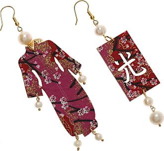 Earrings for Women, Red, Brass Galvanized Gold, 2017, One Size Uomolebole