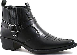 Herren US Brass kubanischer Steigbügelabsatz Western / Cowboy Stiefel in schwarz 46