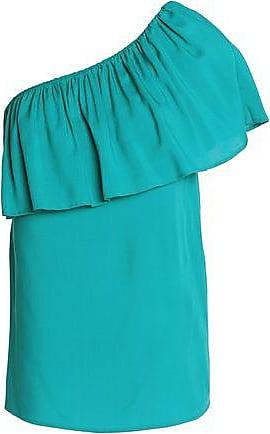 Vanessa Seward Woman One-shoulder Ruffled Crepe De Chine Top Turquoise Size 36 Vanessa Seward