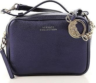 Versace Shoulder Bag for Women, Dark Blue, Leather, 2017, one size