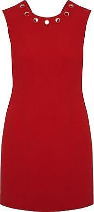 Versace Woman Eyelet-embellished Crepe Mini Dress Crimson Size 40 Versace