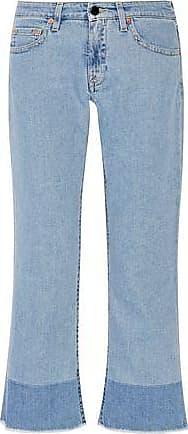 Victoria, Victoria Beckham Woman Cropped Appliquéd Bootcut Jeans Light Denim Size 30 Victoria Beckham