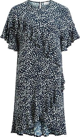 Rüschendetail Kleid Mit Kurzen Ärmeln Dames Blauw Vila