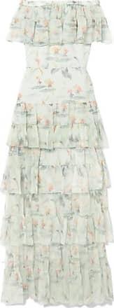 Julianne Off-the-shoulder Printed Crinkled Silk-chiffon Maxi Dress - Mint VILSHENKO