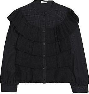 Vilshenko Woman Embroidered Velvet-paneled Cotton And Silk-blend Faille Shirt Black Size 10 VILSHENKO