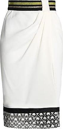 Vionnet Woman Lace-paneled Metallic-trimmed Gathered Crepe Skirt Black Size 40 Vionnet