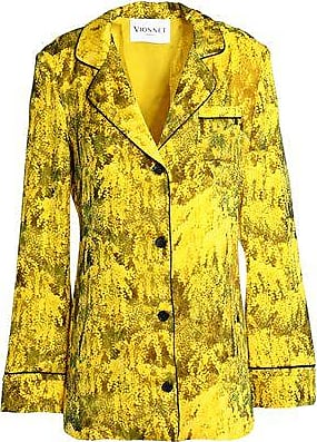 Vionnet Woman Draped Printed Silk Chiffon Blouse Yellow Size 40 Vionnet