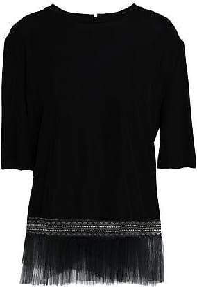 Vionnet Woman Asymmetric Lace-trimmed Two-tone Georgette And Silk-satin Top Black Size 38 Vionnet