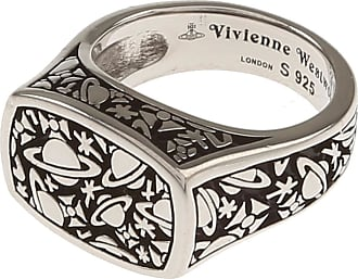 Vivienne Westwood Ring for Men, Black, Rhodium, 2017, Small Medium Large X-Large