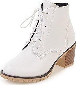 AgooLar Damen Mittler Absatz Rein Quadratisch Zehe Stiefel mit Beschlagene Strass, Cremefarben, 36