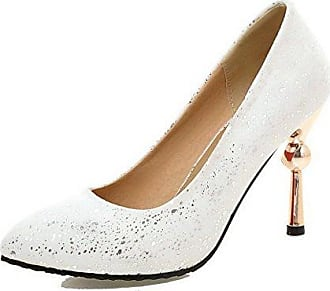 AllhqFashion Damen Wasserdicht Plattform Blend-Materialien Stiletto Spitz Zehe Stiefel, Silber, 39