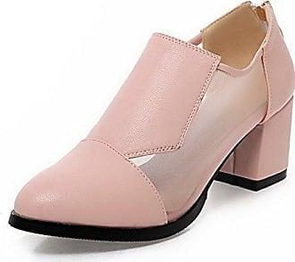 AgooLar Damen Mittler Absatz Rein Quadratisch Zehe Stiefel mit Beschlagene Strass, Schwarz, 40