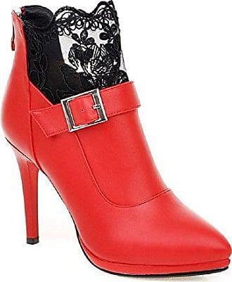 VogueZone009 Damen Reißverschluss Mattglasbirne Rein Niedrig-Spitze Stiefel mit Juwelen, Rot, 42