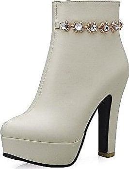 VogueZone009 Damen MattglasbirneRund Zehe Hoher Absatz Stiefel mit Metallisch, Cremefarben, 37