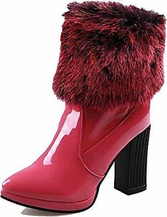 VogueZone009 Damen Nubukleder Niedrig-Spitze Rein Ziehen auf Hoher Absatz Stiefel, Rosarot, 34