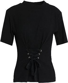 W118 By Walter Baker Woman Amanda Lace-up Ribbed Cotton-blend Top Black Size S W118 by Walter Baker