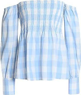 W118 By Walter Baker Woman Off-the-shoulder Smocked Gingham Cotton Top Sky Blue Size M W118 by Walter Baker
