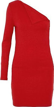 W118 By Walter Baker Woman One-shoulder Paneled Ribbed-knit Mini Dress Red Size S W118 by Walter Baker