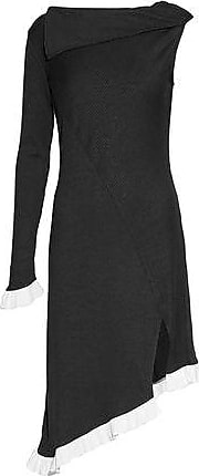 W118 By Walter Baker Woman Asymmetric Ruffle-trimmed Two-tone Ribbed-knit Dress Black Size S W118 by Walter Baker