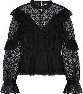 W118 By Walter Baker Woman Sandy Ruffled Embroidered Tulle Top Black Size S W118 by Walter Baker