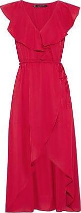 W118 By Walter Baker Woman Wrap-effect Ruffled Crepe De Chine Dress Crimson Size L W118 by Walter Baker