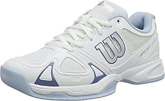 Damen Tennisschuhe Rush Evo Carpet, für Jeden Untergrund, Synthetik, Weiß/Grau/Blau (White/White/Cashemere Blue), Größe: 40 1/3 Wilson