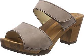 Woody Silke 14262/73 - Zuecos de cuero para mujer, color gris, talla 36
