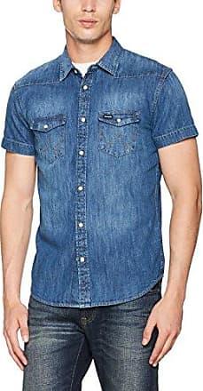 LS Western Shirt, Camisa para Hombre, Azul (Bleached Indigo Z9), Small Wrangler