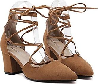 Xianshu Damen Cross Straps Rough Heel High Heels Single Shallow Mund Spitz Schuhe Pumps